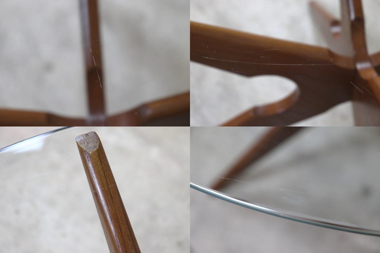 デンマーク ガラストップコーヒーテーブル ヴィンテージ チーク スパイダー